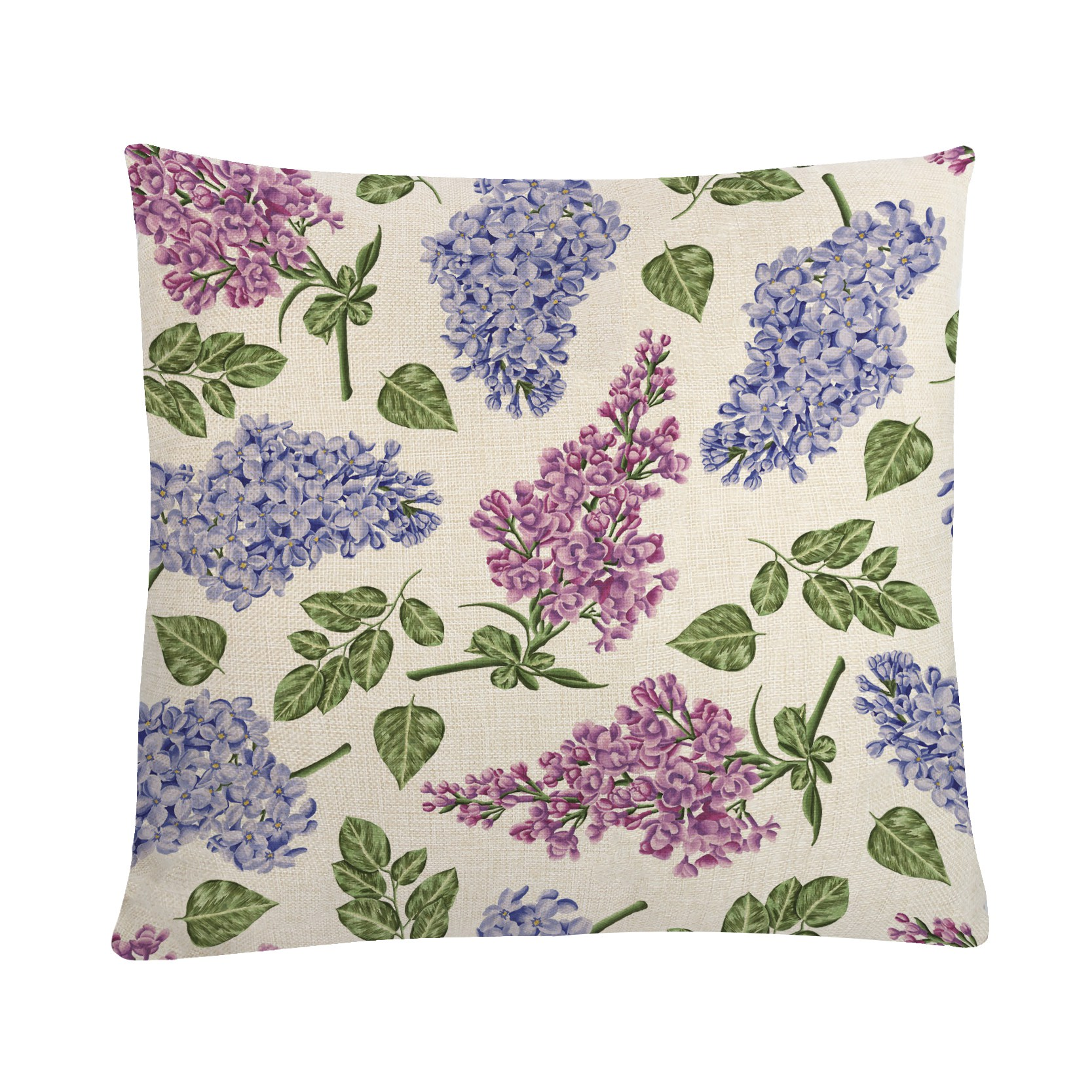 Romantic Cushion Cover Purple Flowers Printed Pillowcase For Sofa Chair Bed Room Decoration 45*45cm Cotton Linen Pillows Covers