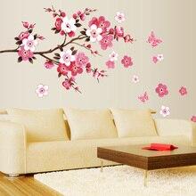 ¡Venta al por mayor! hermosas pegatinas de pared de sakura decoraciones para el dormitorio 739. Diy flores pvc hogar calcomanías mural arte Póster