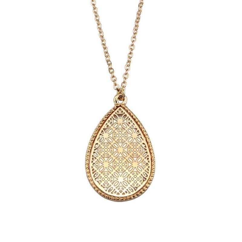 Вырезы шпалеры мотив Teardrop колье Цепочки и ожерелья для Для женщин ювелирные изделия оптом