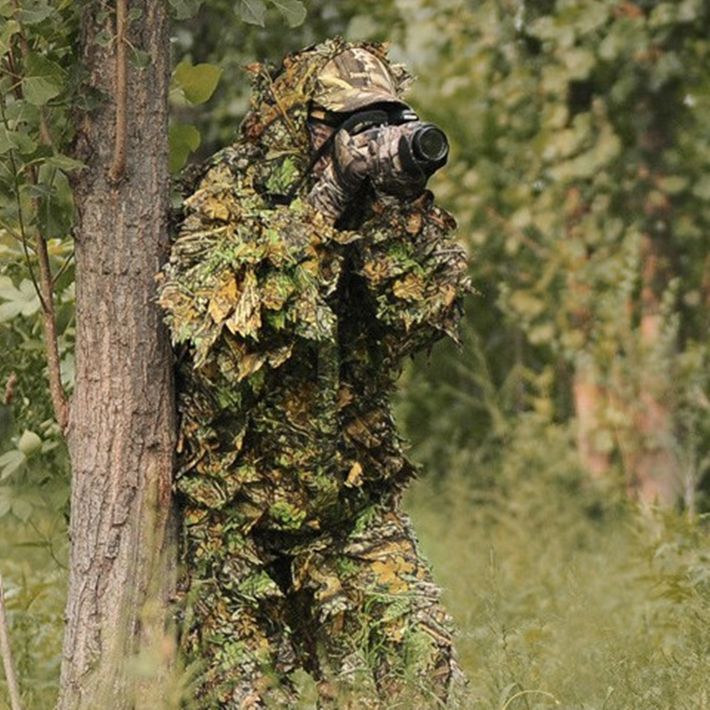 SHANSAI Battle Fatigues Bionic Ghillie Suits Maple Leaf Camouflage Hunting Suit Recon Paintball Airsoft Photographing Military or fabric camouflage leaf headgear