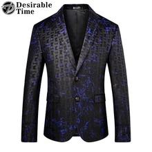 Здесь можно купить   Desirable Time Brand Men Blue Printed Blazer Slim Fit Fashion Mens Classic Blazers Stage Costumes for Singers DT161 Men