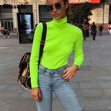 feaecd6bff20 Missufe 2018 nueva manga larga de cuello alto de punto suéteres de las  mujeres verde fluorescente jerseys sudaderas Casual camis.