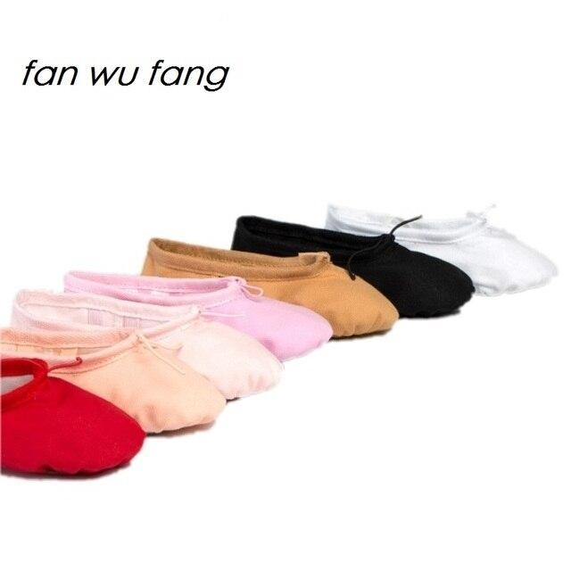 המאוורר וו פאנג חדש 7 צבע בד רך בלט נעלי ריקוד נעלי יוגה סניקרס ילדים בנות נשים כפכפים בהתאם את CM לקנות