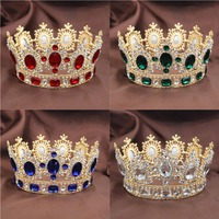 8 Colors European Baroque Bridal Round Crystal Tiaras and Crowns Women Beauty Contest Wedding Crown Queen Princess Crown ML704