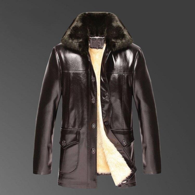 2017 Nieuwe collectie winter beroemde merk mens casual faux lederen jassen en jassen met grote bontkraag Plus fluwelen voering bont een-in Kunstleerjassen van Mannenkleding op  Groep 3