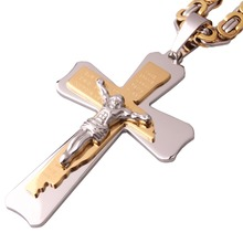 New Arrive 5mm Byzantine Chain Necklace Men's Boy's Jewelry Stainless Steel Silver Gold Tone Christian Jesus Rune Cross Pendant