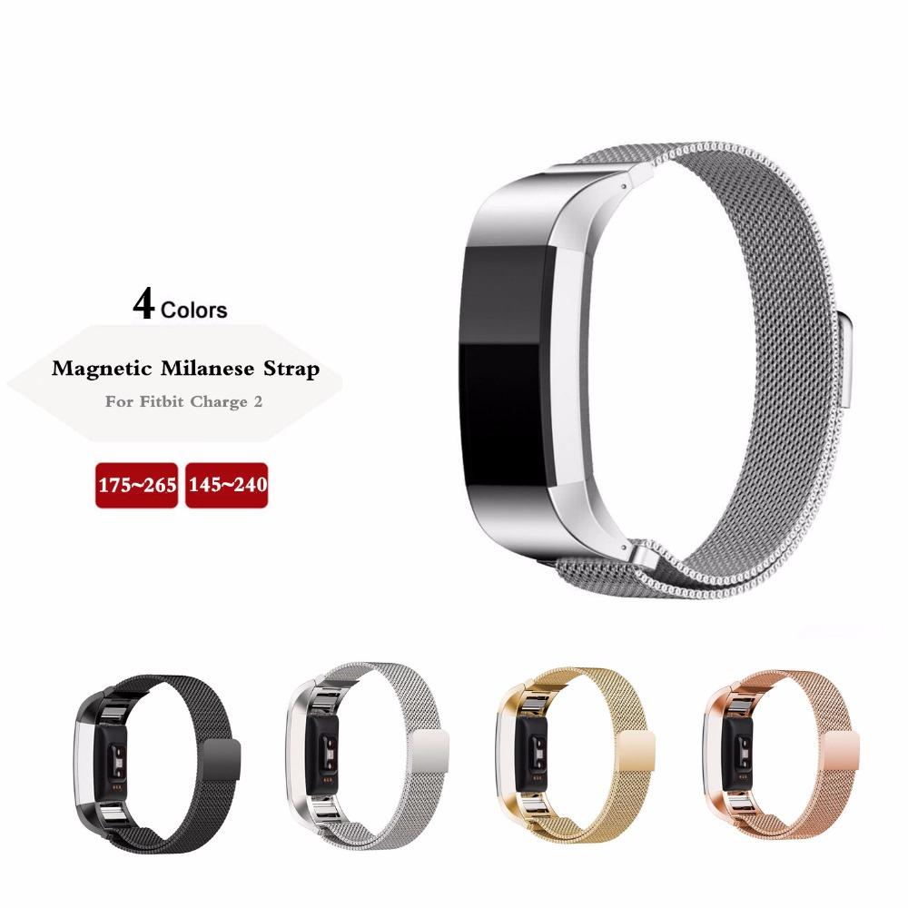 Prix pour D'origine De Luxe Magnétique Milanese Boucle dragonne & Lien Bracelet En Acier Inoxydable Bande Réglable Fermeture pour Fitbit Charge 2