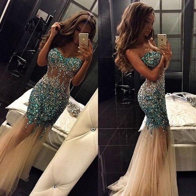 Brilhante rhinestone do querido sheer cintura vestidos de baile 2017 off the shoulder mangas tulle champagne mermaid dress