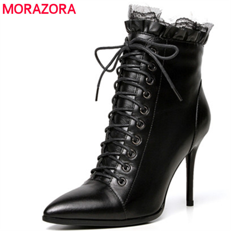 MORAZORA 2018 Top quality cow leather shoes woman spring autumn ankle boots solid zip fashion sexy lady women boots size 34-43 morazora ankle boots for women fashion shoes woman cow suede leather boots solid zipper platform womens boots size 34 40