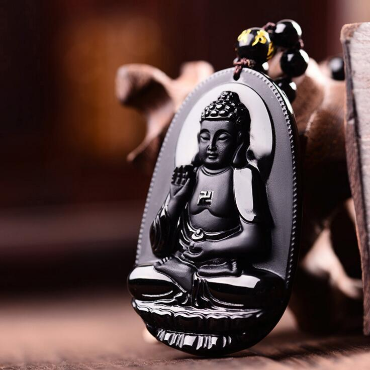 Necklace Buddha Statue  Halloween For Women Men pendants 48*32mm Natural Black Obsidian Carved Buddha Lucky Amulet PendantNecklace Buddha Statue  Halloween For Women Men pendants 48*32mm Natural Black Obsidian Carved Buddha Lucky Amulet Pendant