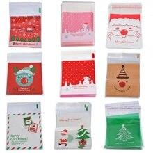 Dozzlor 50 piezas de Venta caliente de Navidad bolsa de autosellado bolsas de plástico para galletas de dulces de Año Nuevo bolsas de regalo de Navidad para niños dulces bolsas