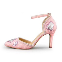 Pink Red White Pearl Wedding Shoes Pointed Toe Comfortable Middle Heel Ball Party Shoes Handmade Rhinestone