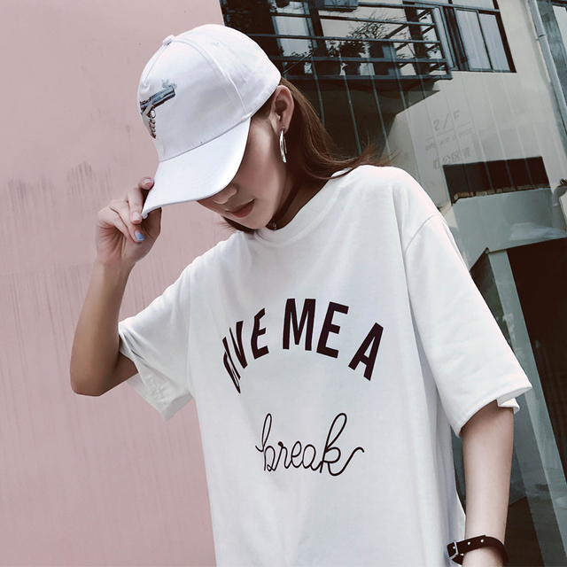 2018 New Arrival Letter GIVE MEA Printed Cotton Casual T-Shirt Women Street Fashion Style Korea Ulzzang Loose O-Neck Tee Tops 2