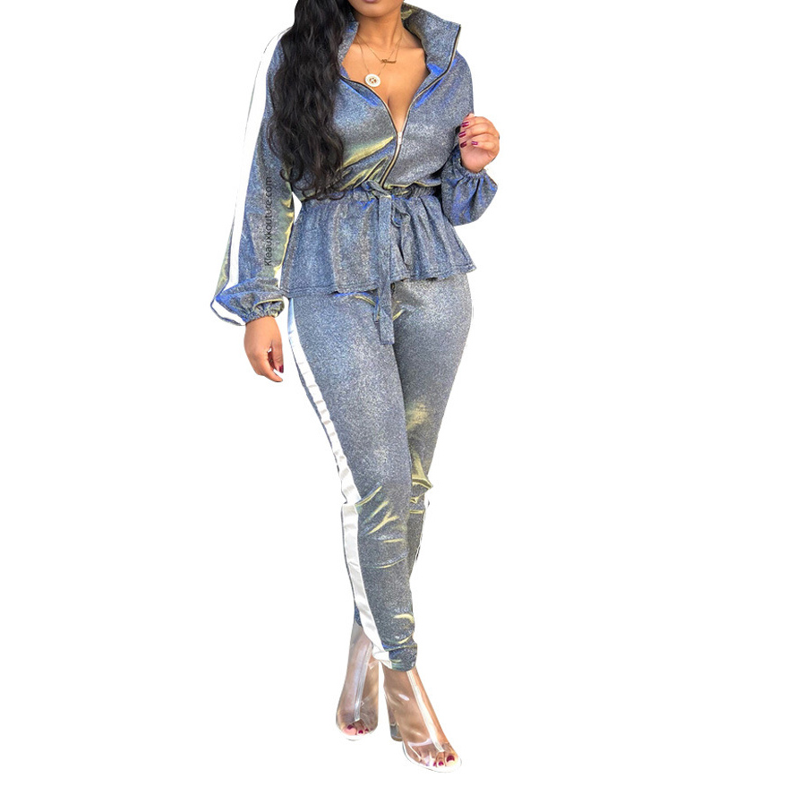 3d3d3195bfe8 Sliver Bling Sparkly Two Piece Set Women Tracksuits Autumn Casual Top and Pants  Zipper Sweatsuit Long Sleeve Outfits Match Set-in Women's Sets from Women's  ...