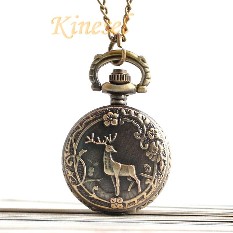 Retro Bronze Small Size Necklace Watch Pocket Watch Deer Pendant Children Gift