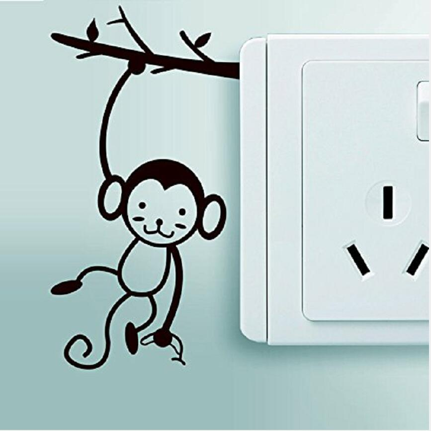 Funny Monkey Switch Sticker Removable Vinyl Wall Home Decor Mural Art Curved DIY Stickers Free Shipp Y-37