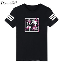 Donnalla Summer BTS T Shirts Letter Print Short Sleeve T Shirt Fashion Costumes Camisetas Top And