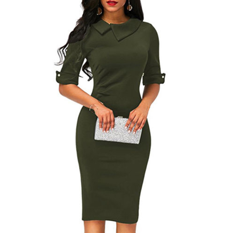 Women-Bandage-Bodycon-Half-Sleeve-Evening-Party-Work-Office-Midi-Dress