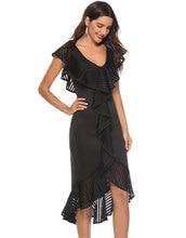 HEE GRAND Women Dress Spring Plus Size XXL Slim Ruffles Vestido 2019 Irregular Patch Work Sexy Lace Party Robes WQS2290