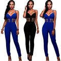 New Hollow Out Strap Long Jumpsuit Sexy Off Shoulder Sleeveless Blusas Overall Playsuit Club Party Blue Rompers Women Jumpsuit