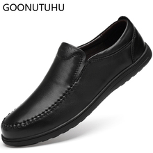 Fashion men's shoes casual genuine leather cow loafers male 2019 new slip on classic black shoe man flats driving shoes for men mycolen new fashion genuine leather men loafers slip on casual shoes man luxury brand driving shoe male flats footwear black