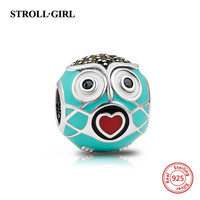 Authentic Cute Love Heart Mouth Owl Beads 925 Sterling Silver Charms With Enamel CZ Fit Pandora