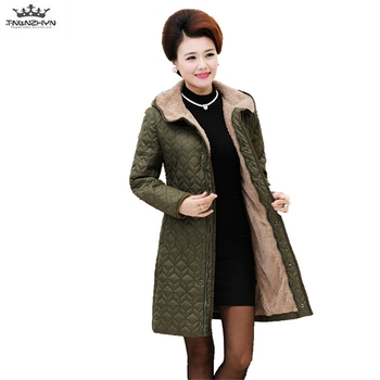 2019 Plus size winter women's padded coat Outerwear Hooded warm middle-aged cotton coat thick lamb hair  cotton jacket Parka