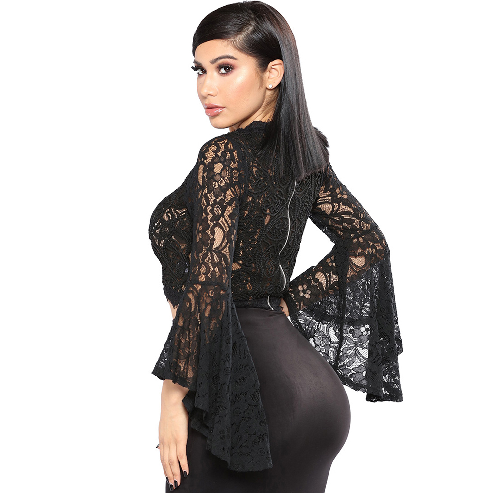 bdc214f8a07bb8 Women Sheer Crop Top Crochet Lace High Neck Long Flare Sleeve Blouse Shirts  Female Exposed Zipper Back See Through Black Shirts