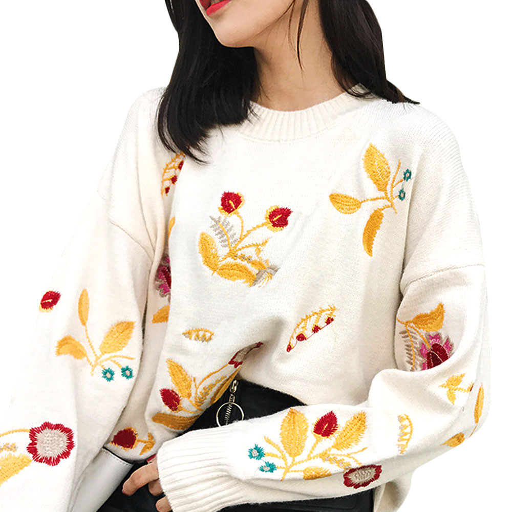 2018 new Casual fashion Sweater women's fall and winter new flower embroidery loose sweater Slim Fit Brand Knitted Pullovers