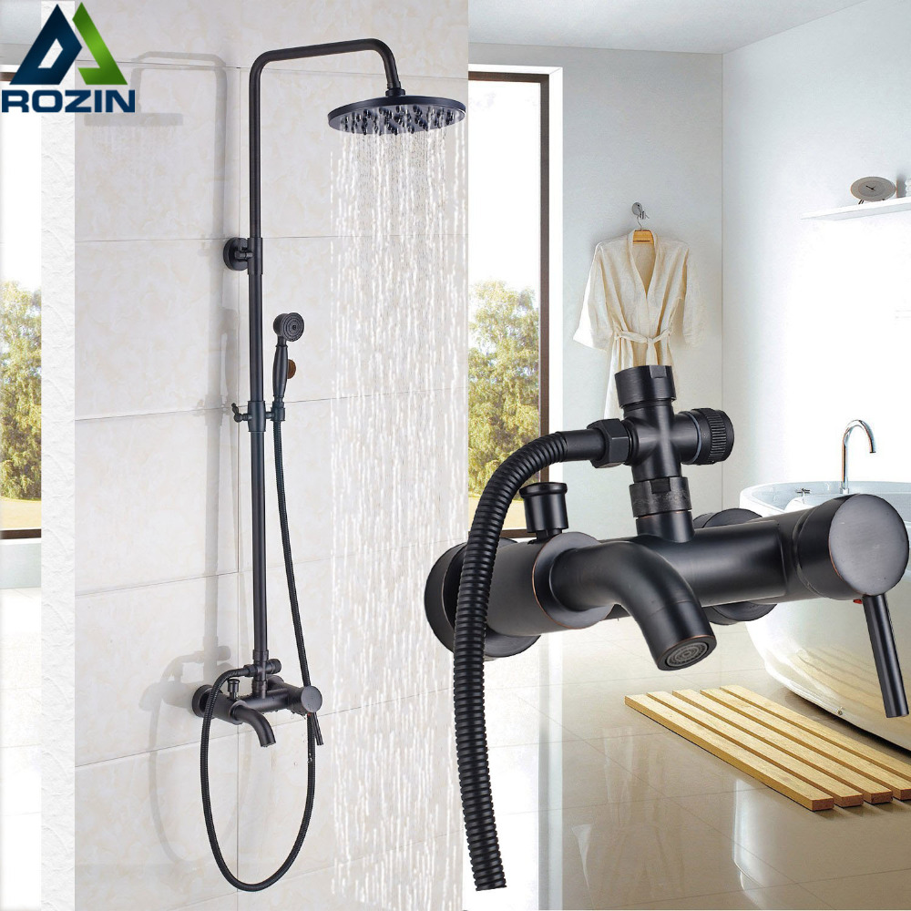 "Wall Mounted 8"" Rainfall Shower Set Faucet with Hand Shower Black Bath and Shower Mixer Kits Brass Tub Can Hot and Cold Taps"