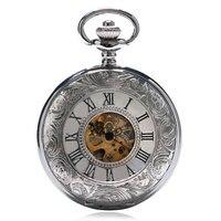 2017 Luxury Mechanical Pocket Watch Chain Silver Double Open Face Hollow Skeleton Clock Hand Winding Watch