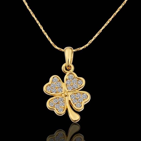 70ea52048da8e US $3.31 24% OFF|Yellow Gold Color Pendant Necklace Women Heart Clover  Zirconia Pendants Pendulum Cameo Bijouterie Pingente Indian Costume N582-in  ...