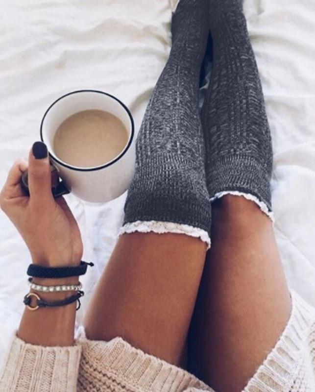 Fashion Ladies Knee High Lace Socks Women Over Knee Socks Thigh High Thick Lovely Girl Knitting Long Stockings