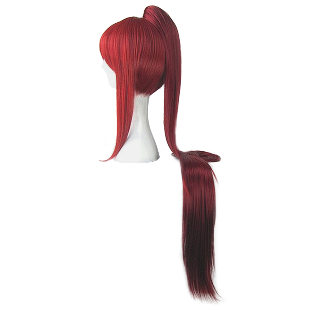 HAIRJOY Fairy Tail Erza Scarlet 100cm Long Synthetic Hair Red Blonde Black Costume Wig Perucas Cosplay Wigs +1 Ponytail 2