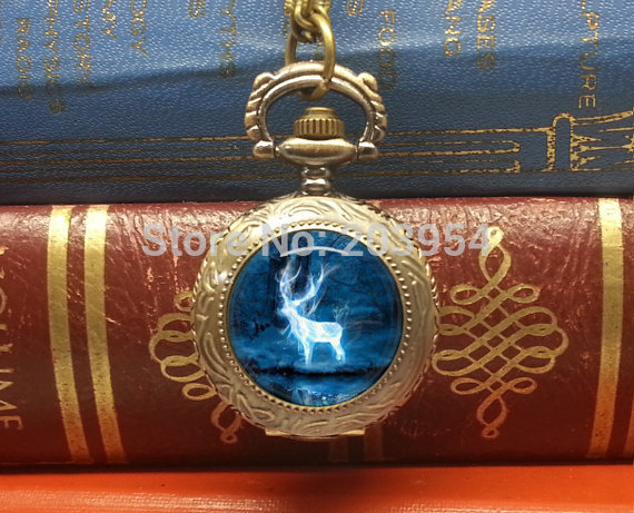 Wholesale 12pcs/lot new movie patronus pocket watches necklace pendant handmade jewelry steampunk style xmas gift quartz mens