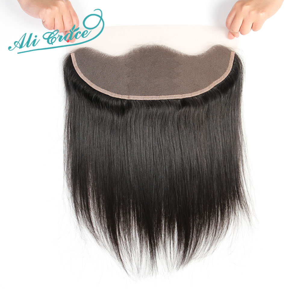 Image 4 - Ali Grace Brazilian Straight 13*4 Lace Frontal Medium Brown/ Transparent Lace Free/Middle Part Frontal 130% Destiny Remy Hair-in Closures from Hair Extensions & Wigs