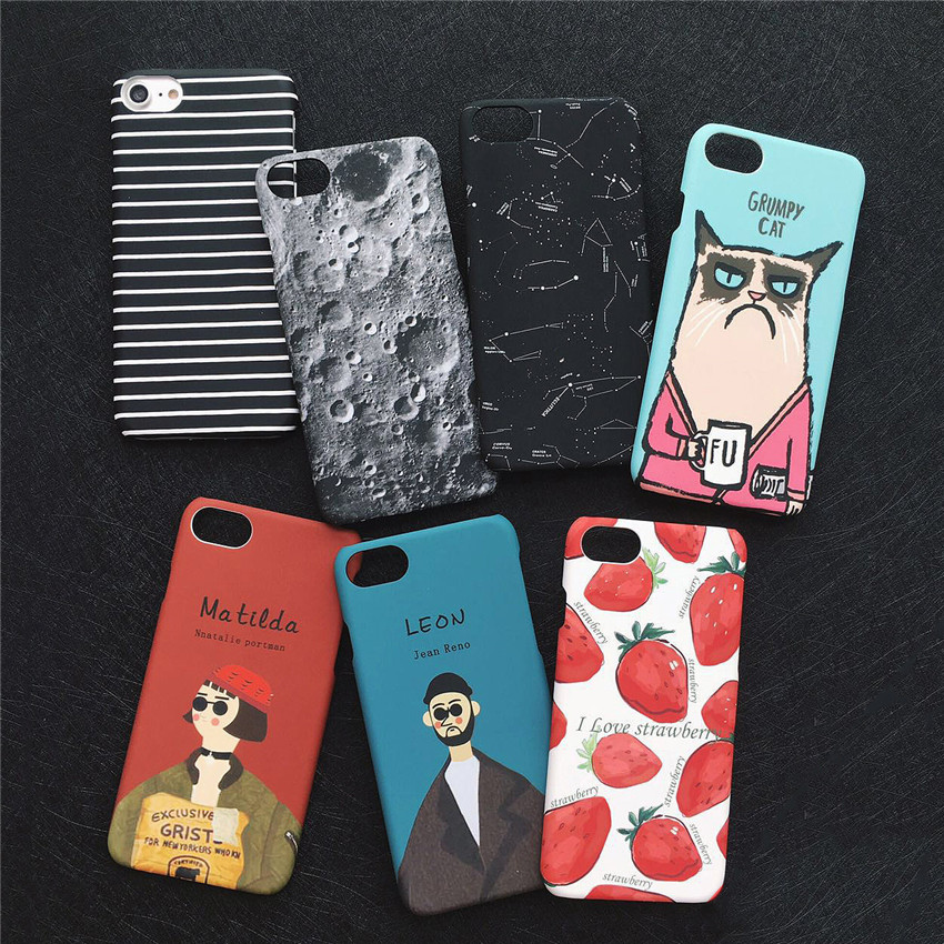 Cartoon Stars Sky Moon Fruit Stripe Print Coque Slim Hard Phone Cases For Iphone X 8 7 7Plus 5 5S 6 6S 6Plus Cute Cover