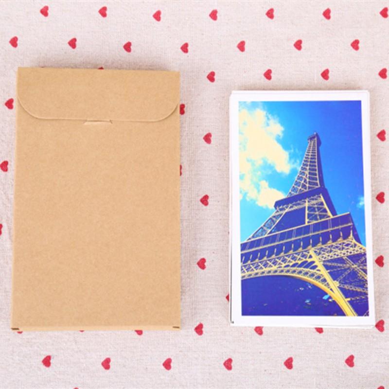 160Pcs 10.8*15.5*1.5cm Kraft Paper Envelope Invitation Card Letter Stationery Package Box Gift Greeting Card Postcard Photo Box