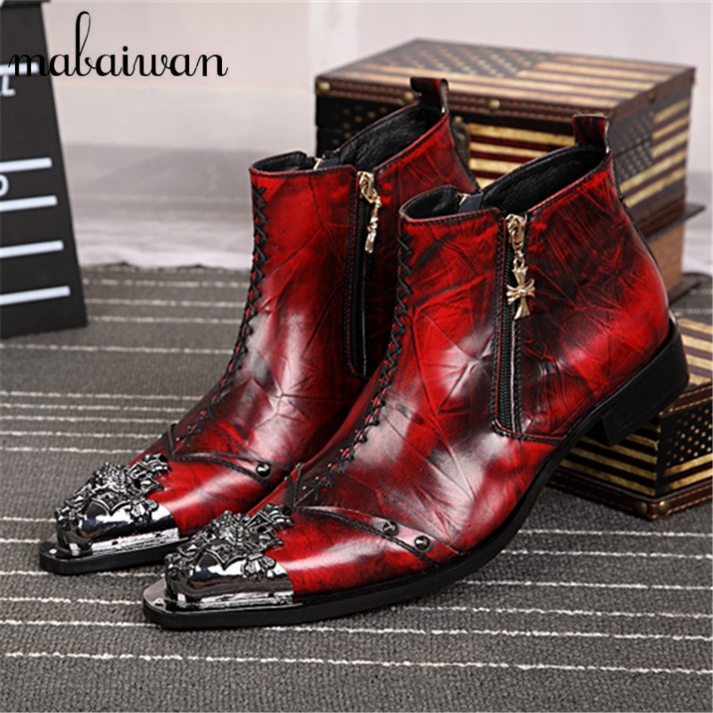 ᑐred Plicated Leather ᐃ Men Men Ankle Boots Metal Pointed