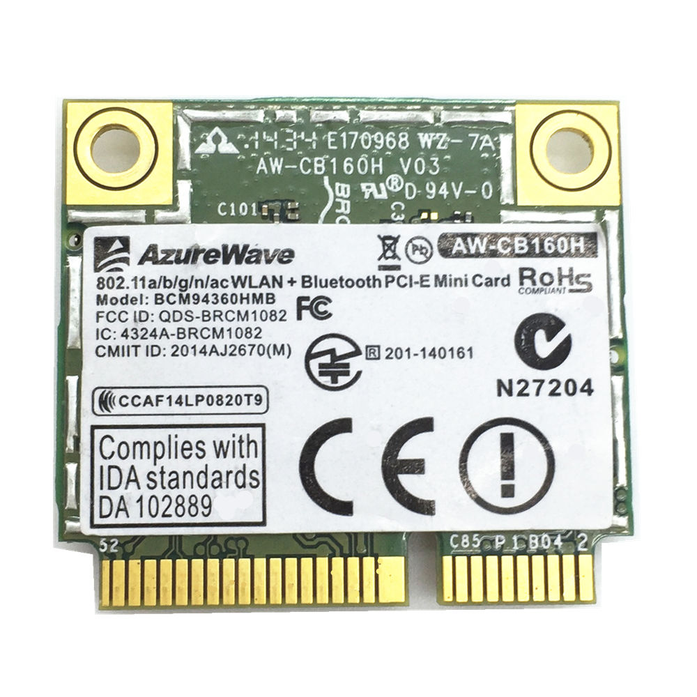 For AW-CB160H 802.11abgn/11ac WiFi+BT Bluetooth 4.0 Broadcom BCM94360HMB 1300Mbps Mini PCI-E Card fenvi wlan network new broadcom bcm94360hmb azurewave aw cb160h 802 11ac 1300mbps wireless ac wifi bluetooth 4 0 mini pci e card