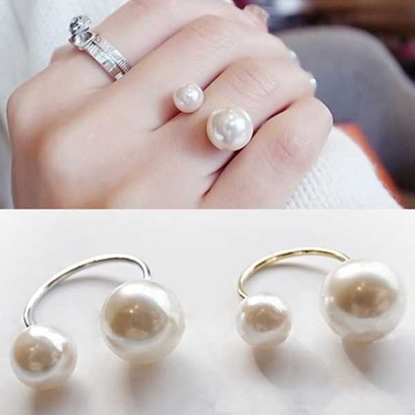 Hot Fashion Simple White Big Small Imitation Pearls Adjustable Opening Silver Gold Color Ring for Women Jewelry Hand Accessories