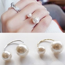 Hot Fashion Simple White Big Small Imitation Pearls Adjustable Opening Silver Gold Color Ring for Women Jewelry Hand Accessories(China)