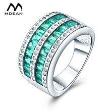 MDEAN oro blanco de Color anillos de boda para las mujeres verde AAA Zircon anillo de boda joyería Bague Bijoux tamaño 6 7 8 MSR882
