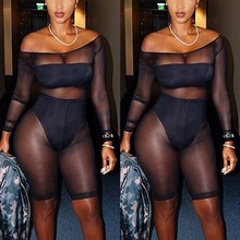 New Off Shoulder Sexy Club One Piece See Through Mesh Playsuit Womens Slim Fit Slash Neck