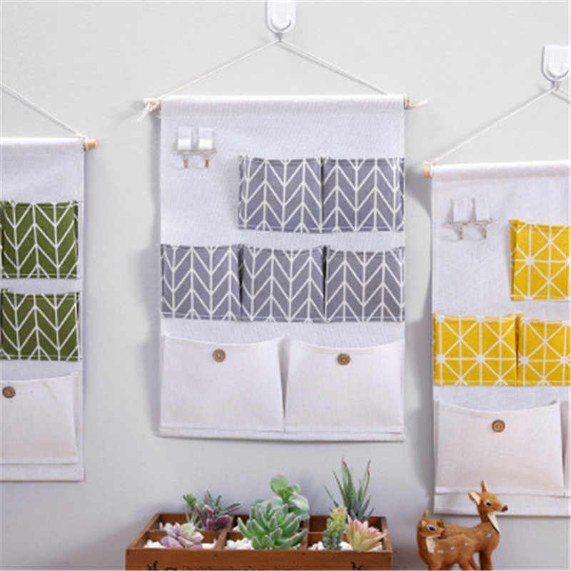 Cotton And Linen Wall-mounted Storage Bag 7Pouch Hanging Pokcet With Hook Bedroom Door Household Toys Sundries Container 35x58cm
