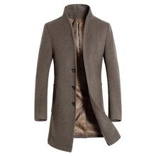 2018 jesień zima brytyjski styl mężczyzna wełniany prochowiec mężczyźni marka odzież skręcić w dół kołnierz mieszanki wełny pojedyncze łuszcz Pea płaszcz tanie tanio Wykop Pojedyncze piersi REGULAR 100 poliester Kiby s STANDARD Wełna Akrylowe Pełna X długości Czesankowej Anglia style