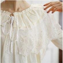 Милая кружевная блузка для девочек, хлопковая льняная рубашка с рукавом три четверти и лепестками Mori Girl, винтажная блуза принцессы, женские топы 16994