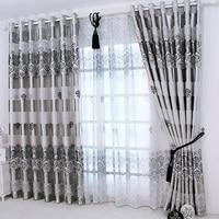 Elegant Noble Satin Green Printing Shade Curtain Living Room Bedroom