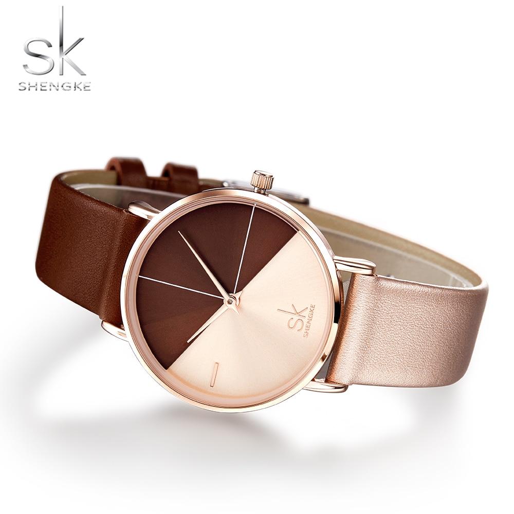 Hot Sale SK Women's Watches Shengke Brand Fashion Leather Band Watch Women Casual Creative Unique Clock Reloj Mujer Montre Femme