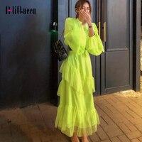 Korean Fluorescent Green Layer Ruffles Dress Elegant Women Plus Size Casual Lantern Sleeve Long Party Dresses Vestidos with Belt